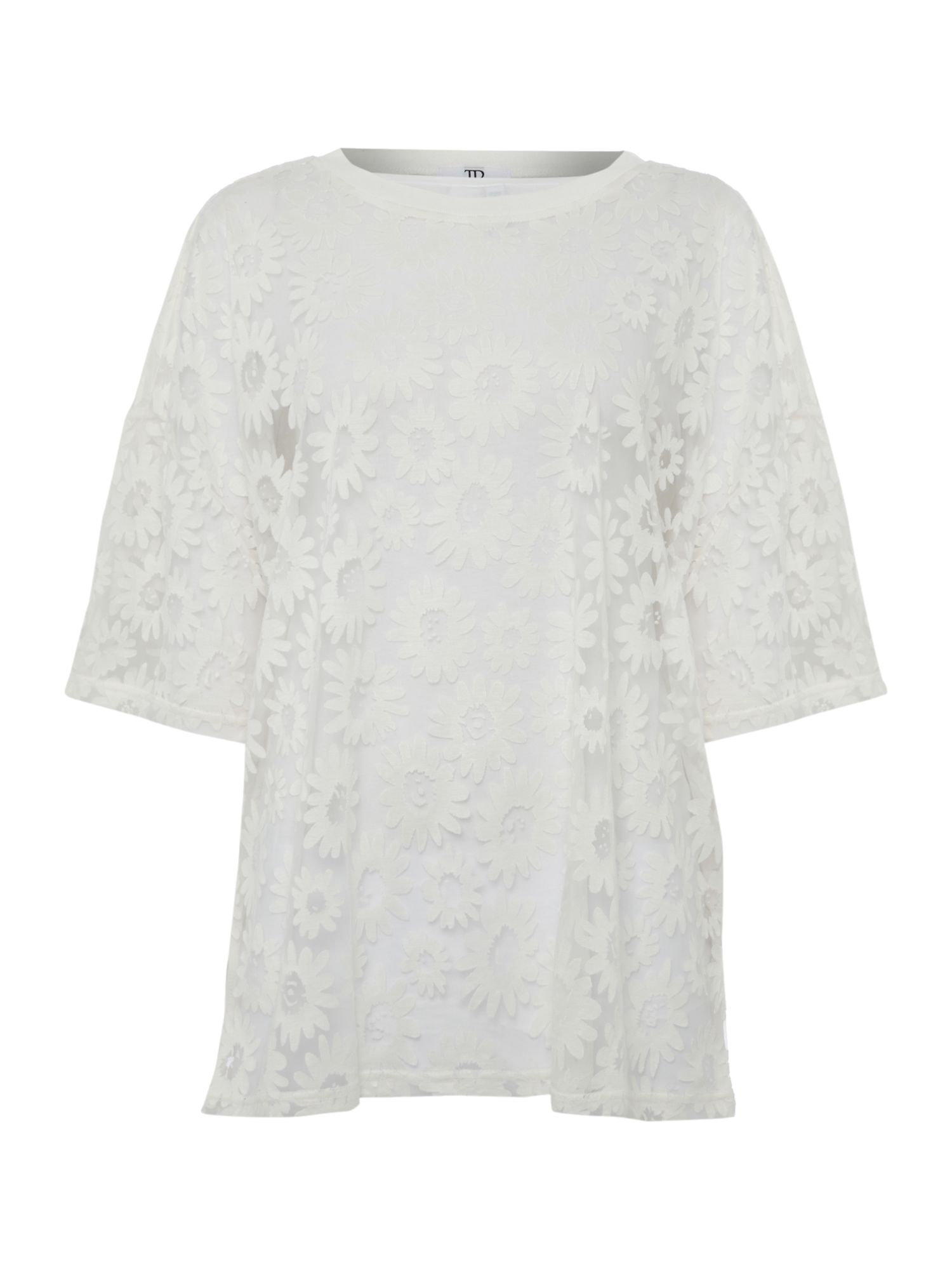Sheer pattern oversized tshirt
