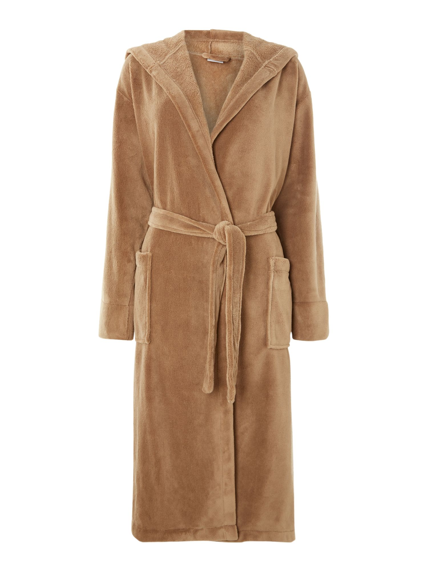 Fleece robe with hood in mocha s/m