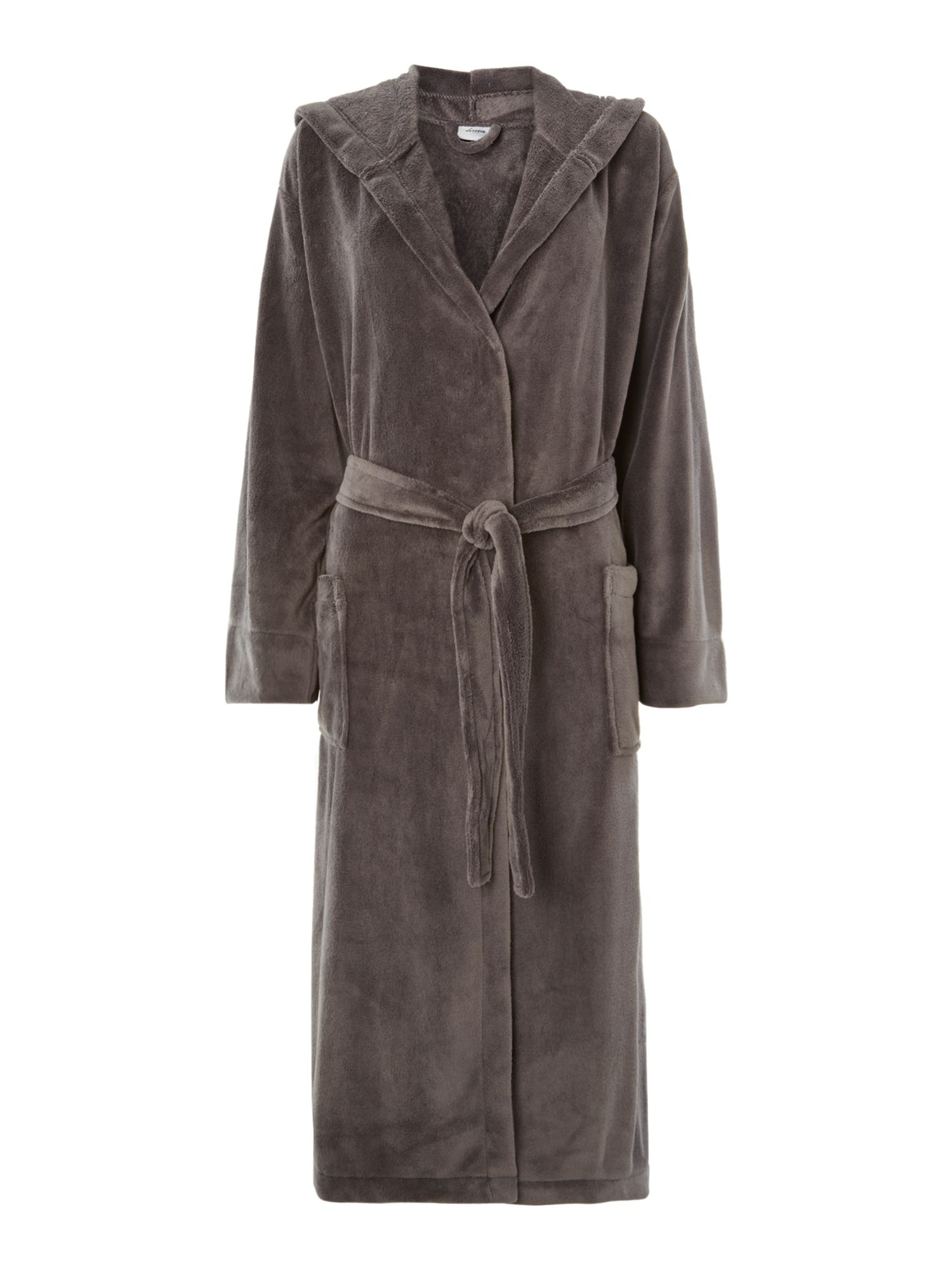 Fleece robe with hood in grey s/m