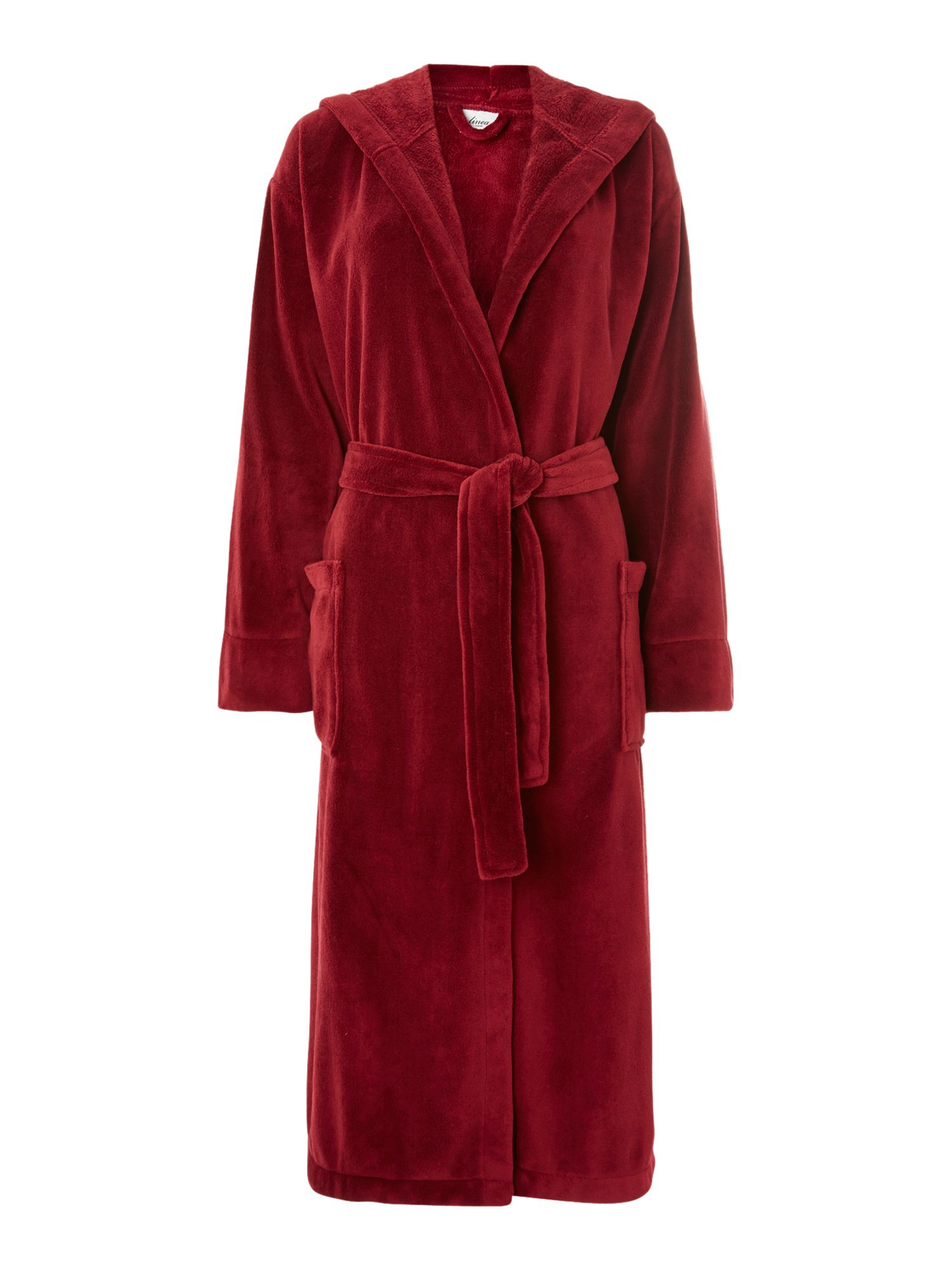 Fleece robe with hood in red s/m