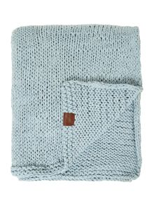 Lisse hand knitted throw in ice blue