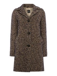 Malia 3 button tweed coat with belted back