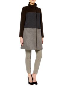 Anima long sleeved colour block coat