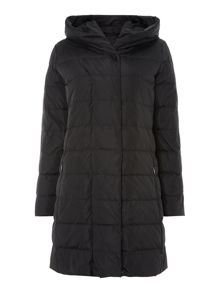 Manu longline padded belted coat with hood
