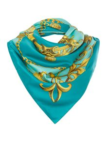 Gold scroll print square scarf