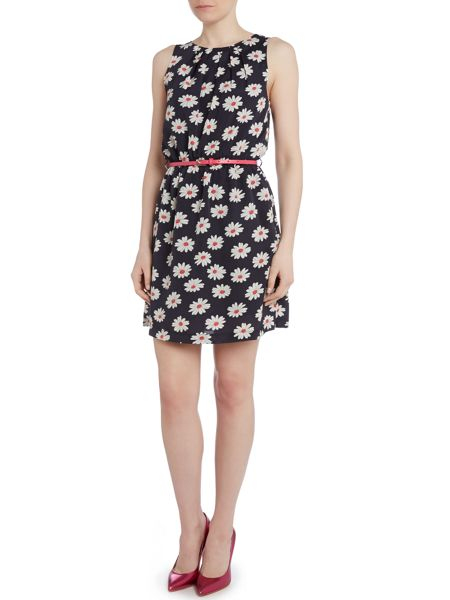 Louche Daisy print chiffon belted dress