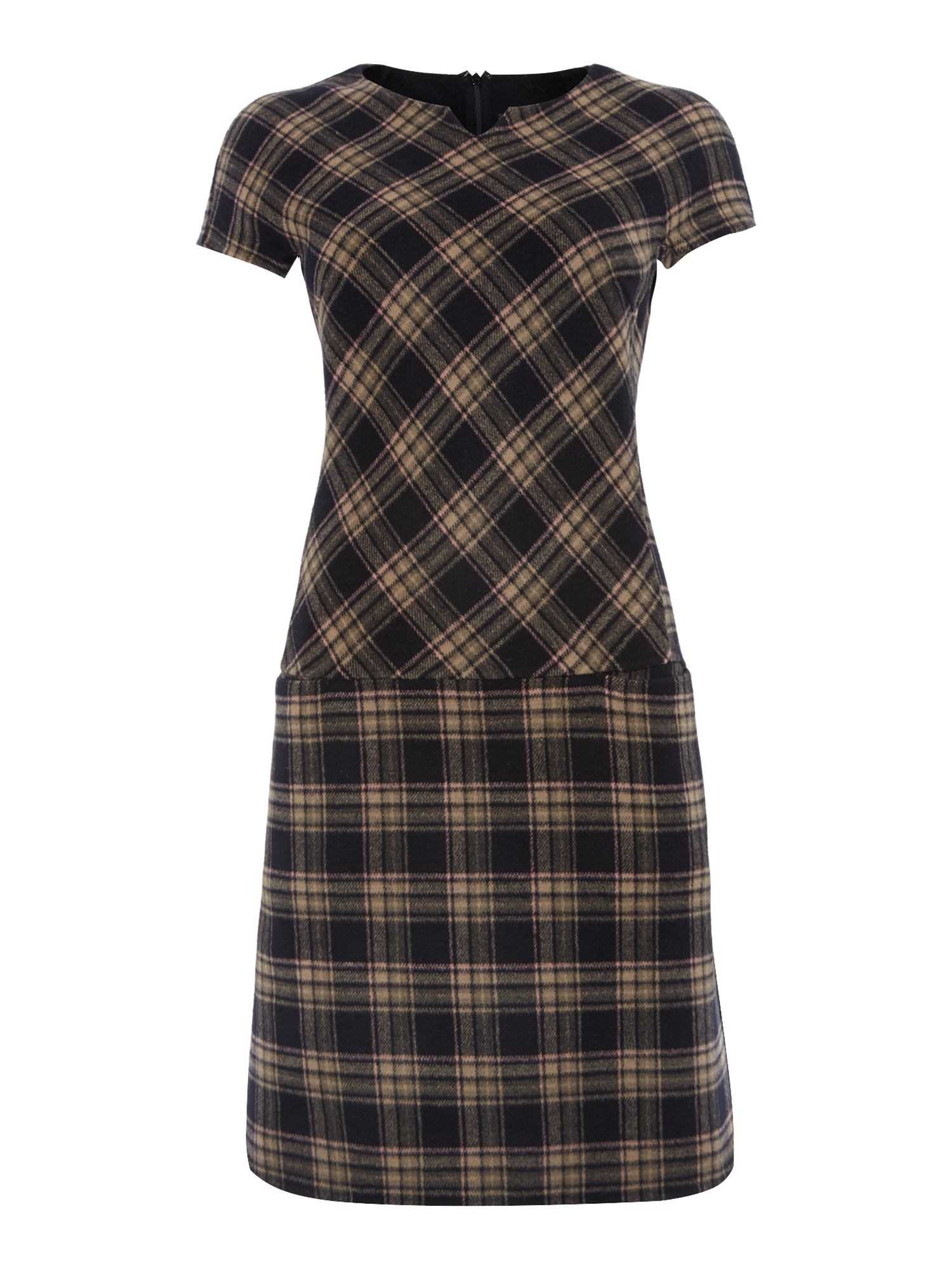 Orense tartan print wool shift dress