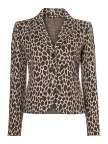 Calamo animal print wool blazer