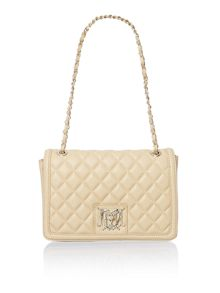 Beige quilt flapover shoulder bag