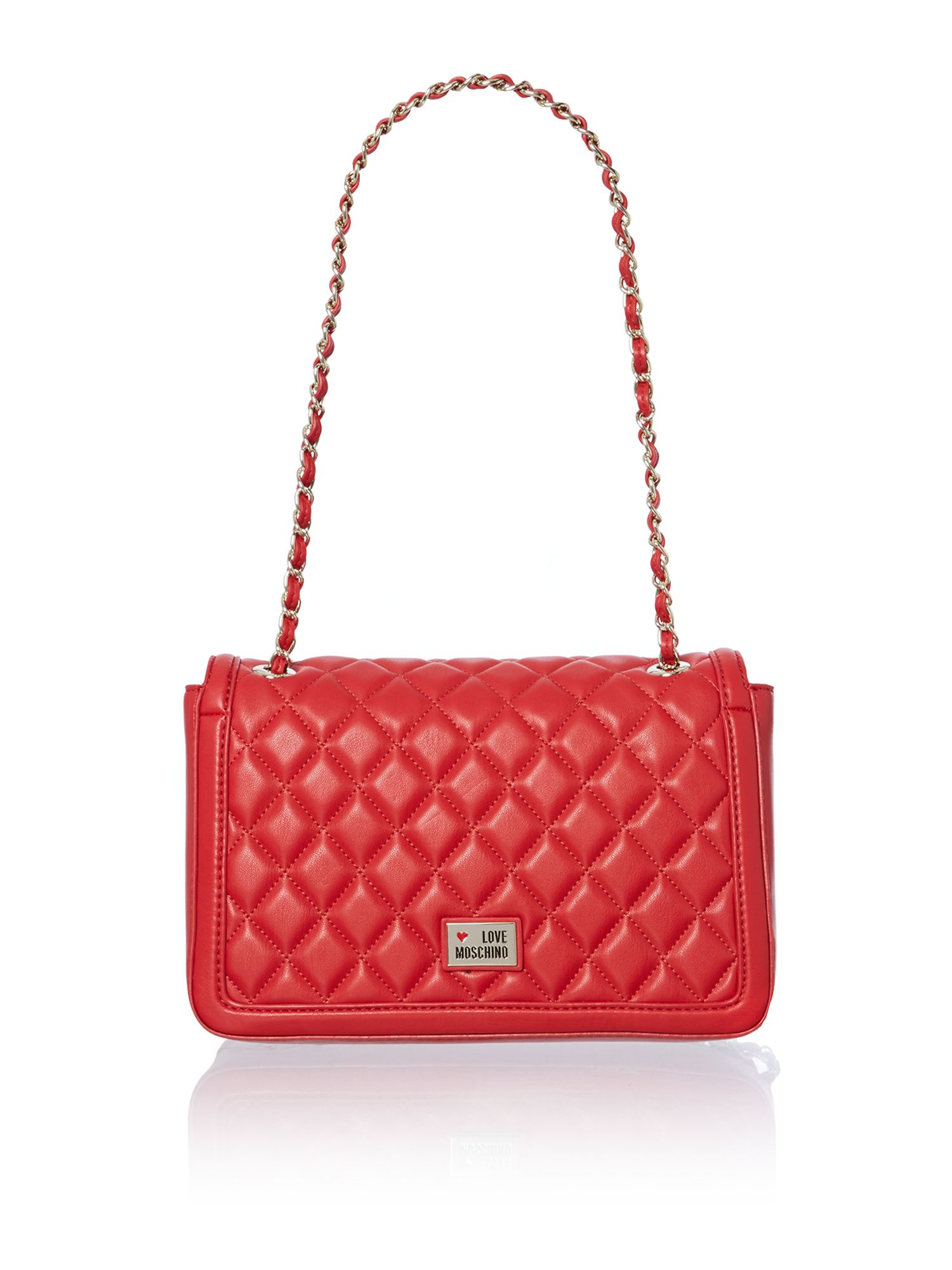 Red quilt flapover shoulder bag