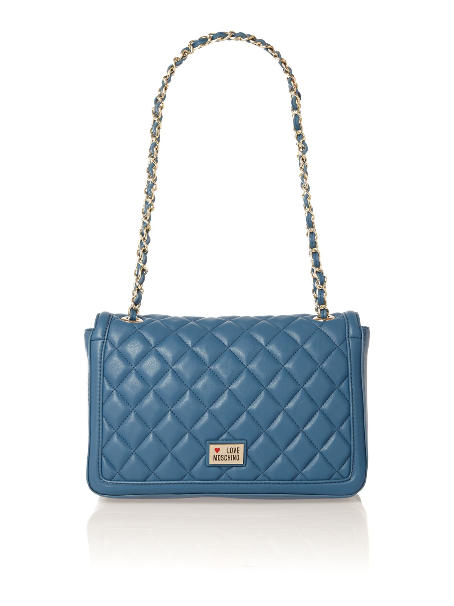 Blue quilt flapover shoulder bag