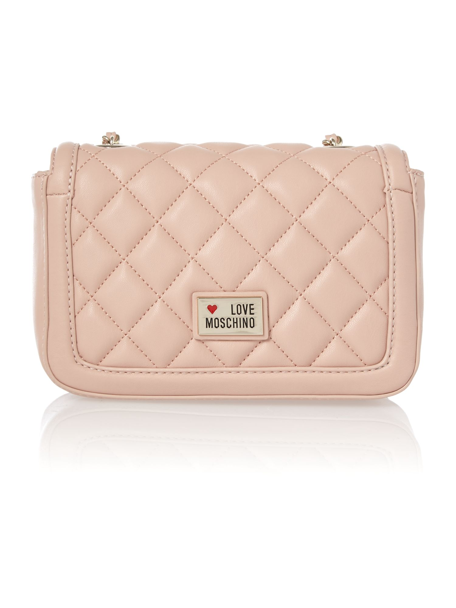 Pale pink quilt flapover shoulder bag