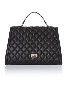 Black quilt medium flapover satchel bag
