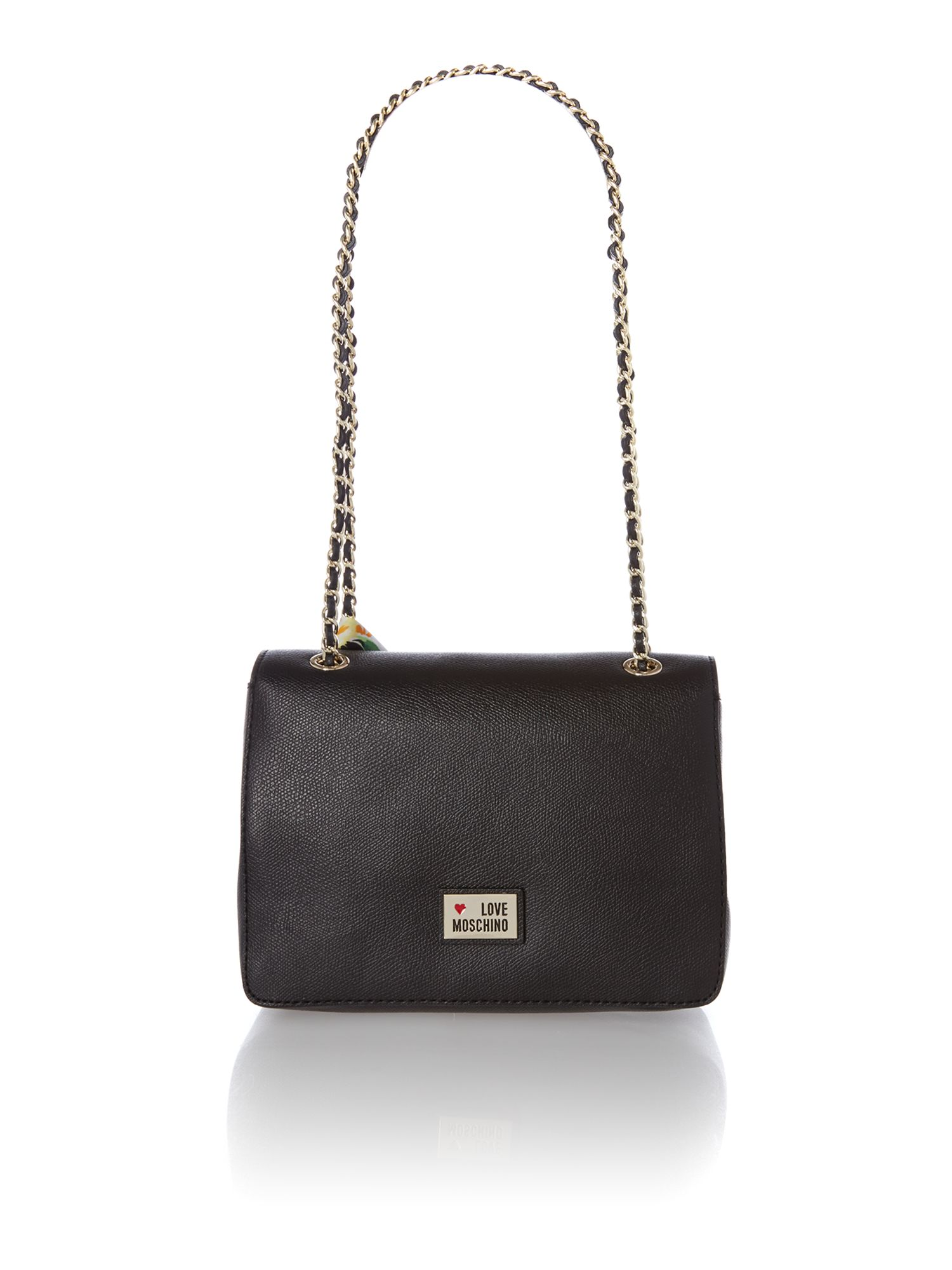 Black small saffiano frame flapover shoulder bag