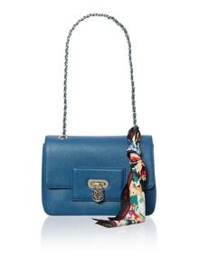 Blue small saffiano frame flapover shoulder bag