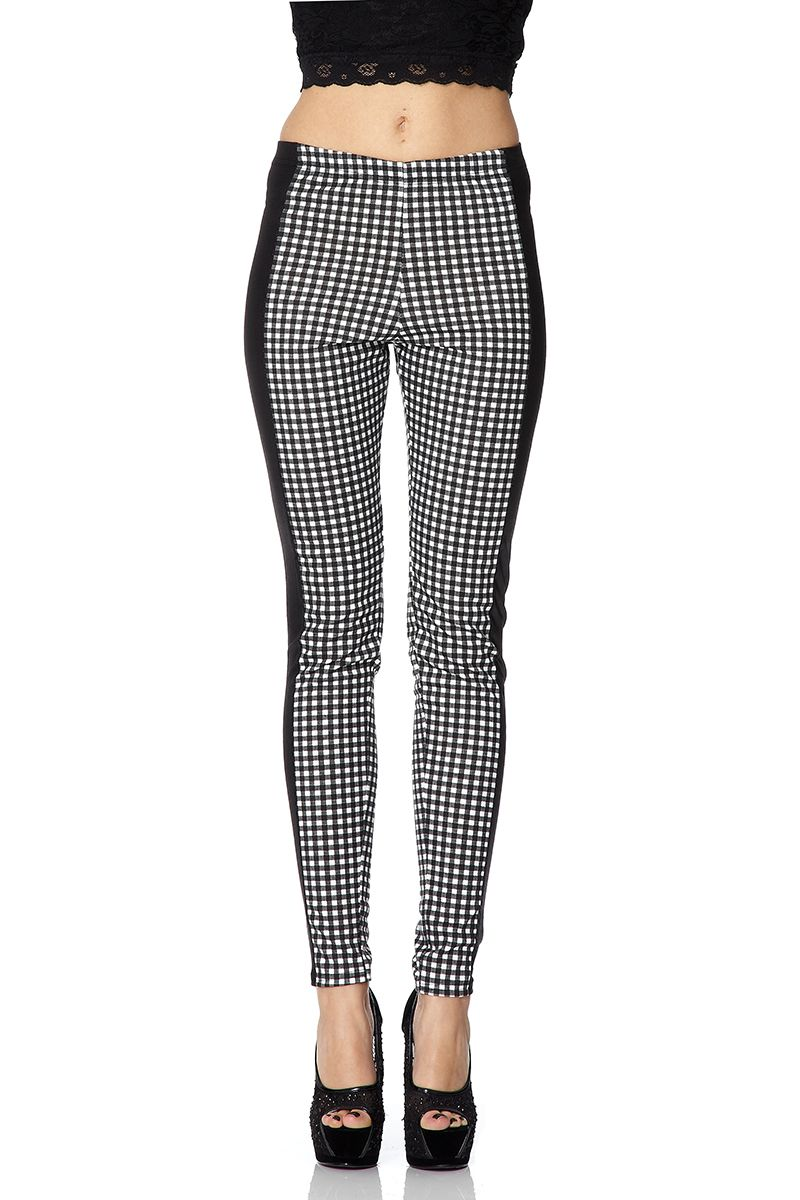 Gingham wet look leggings