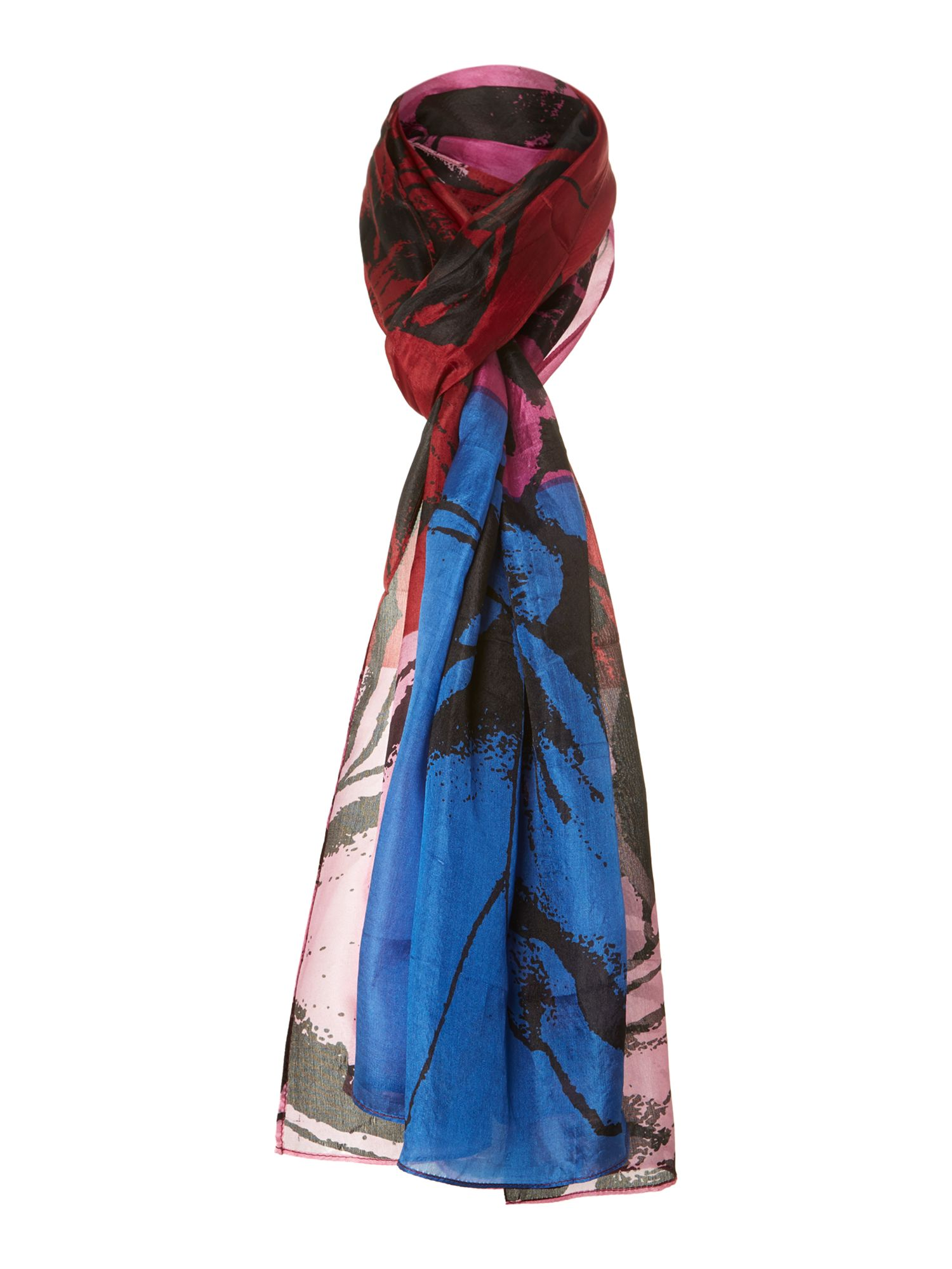 Colour block silhouette silk scarf