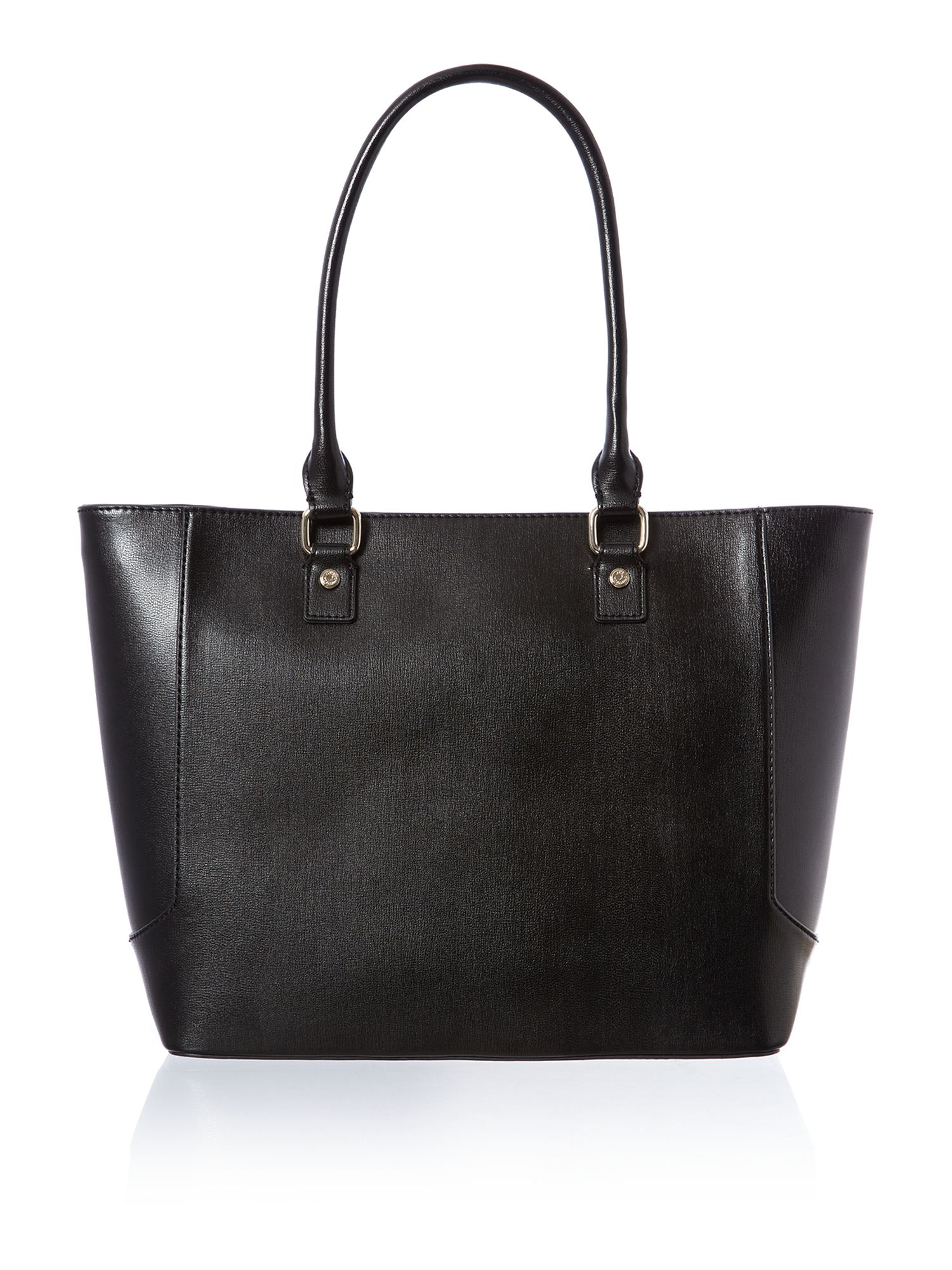 Black and red large colourblock tote bag