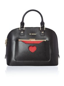 Black and red colourblock dome bag