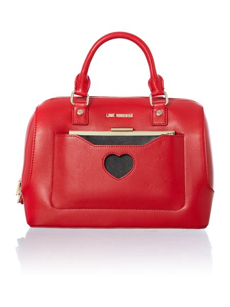 Love Moschino Red and black large colourblock bowling bag