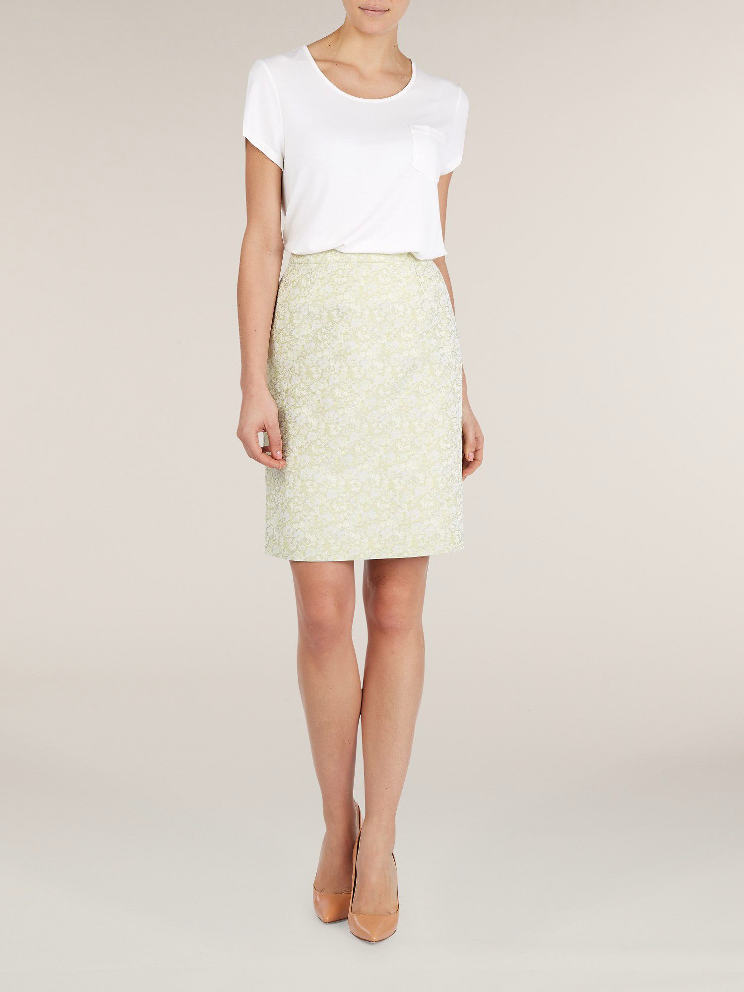 Apple green jacquard skirt