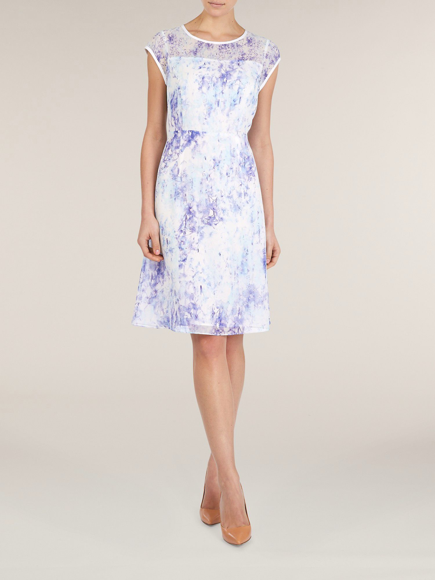 Wisteria floral print organza dress