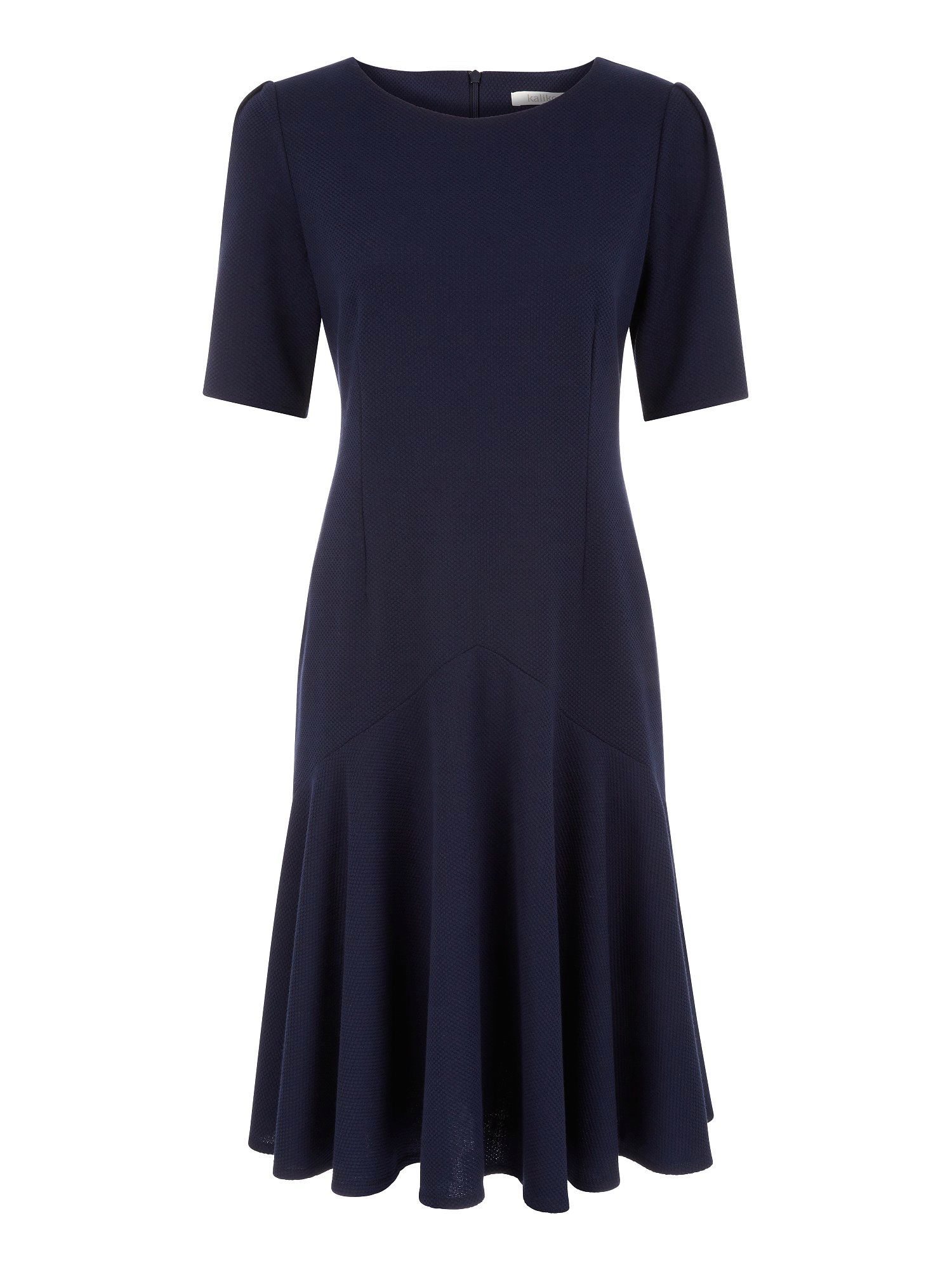 Midnight navy honey comb flippy hem dress