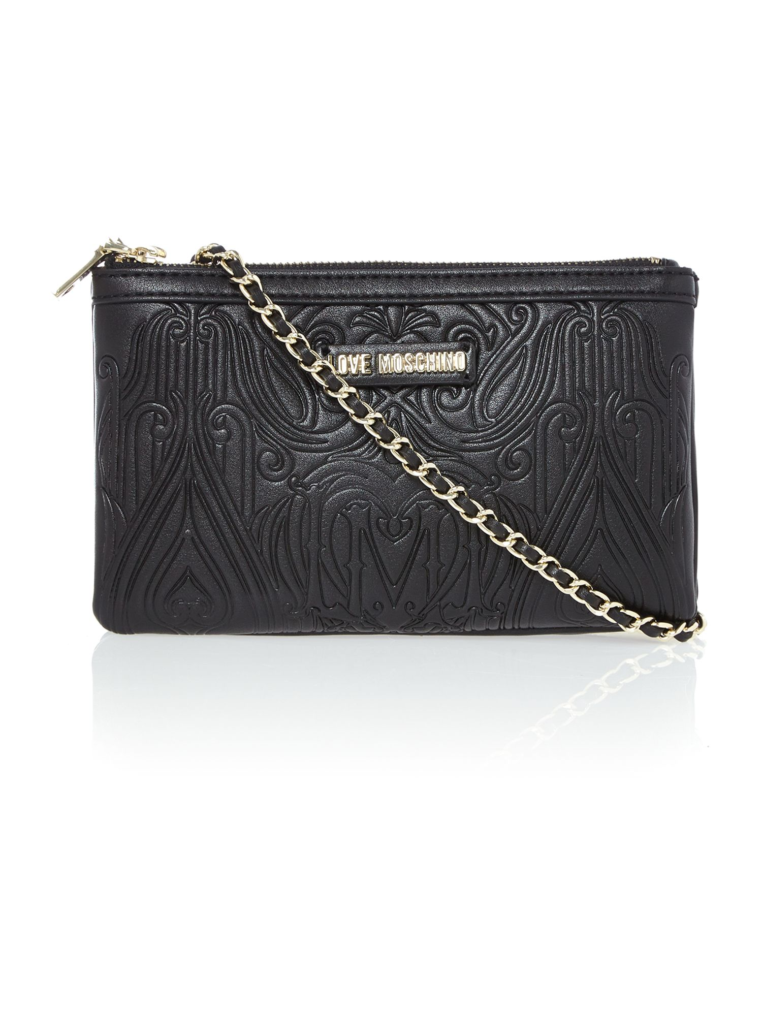 Black small gothic embossed cross body bag