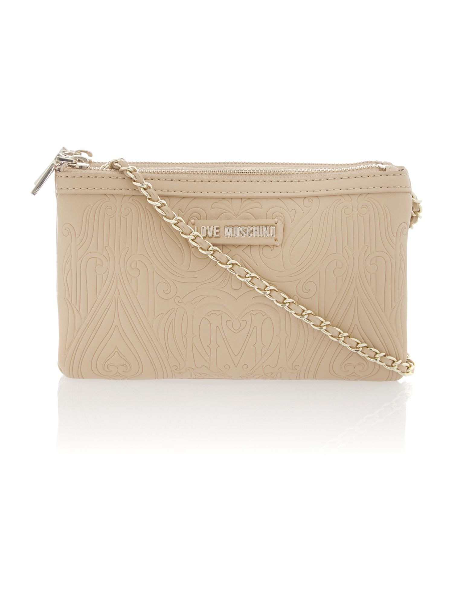 Beige small gothic embossed cross body bag