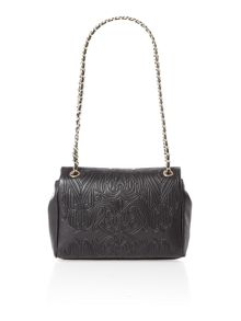 Black gothic embossed flapover shoulder bag