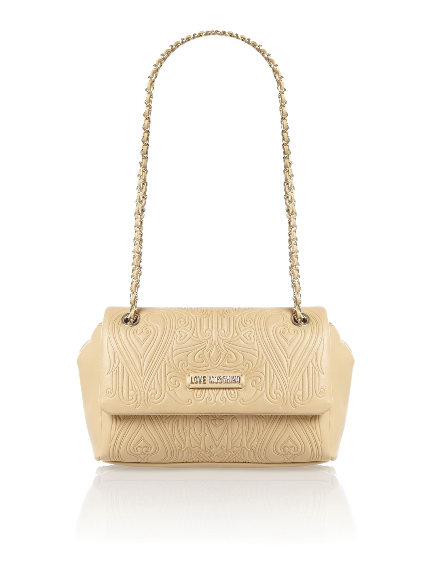 Beige gothic embossed flapover shoulder bag