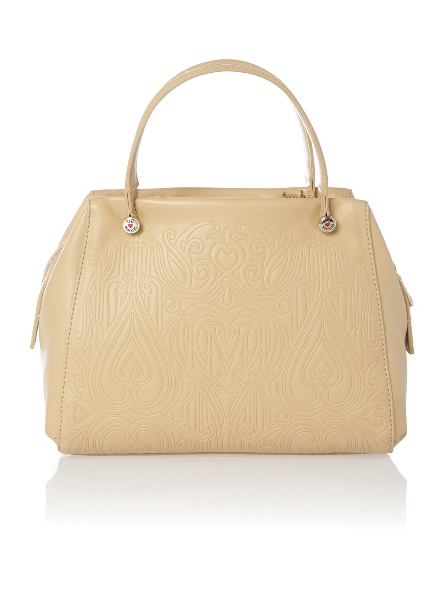 Beige gothic embossed cross body tote bag