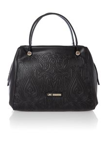 Black medium gothic embossed cross body tote bag