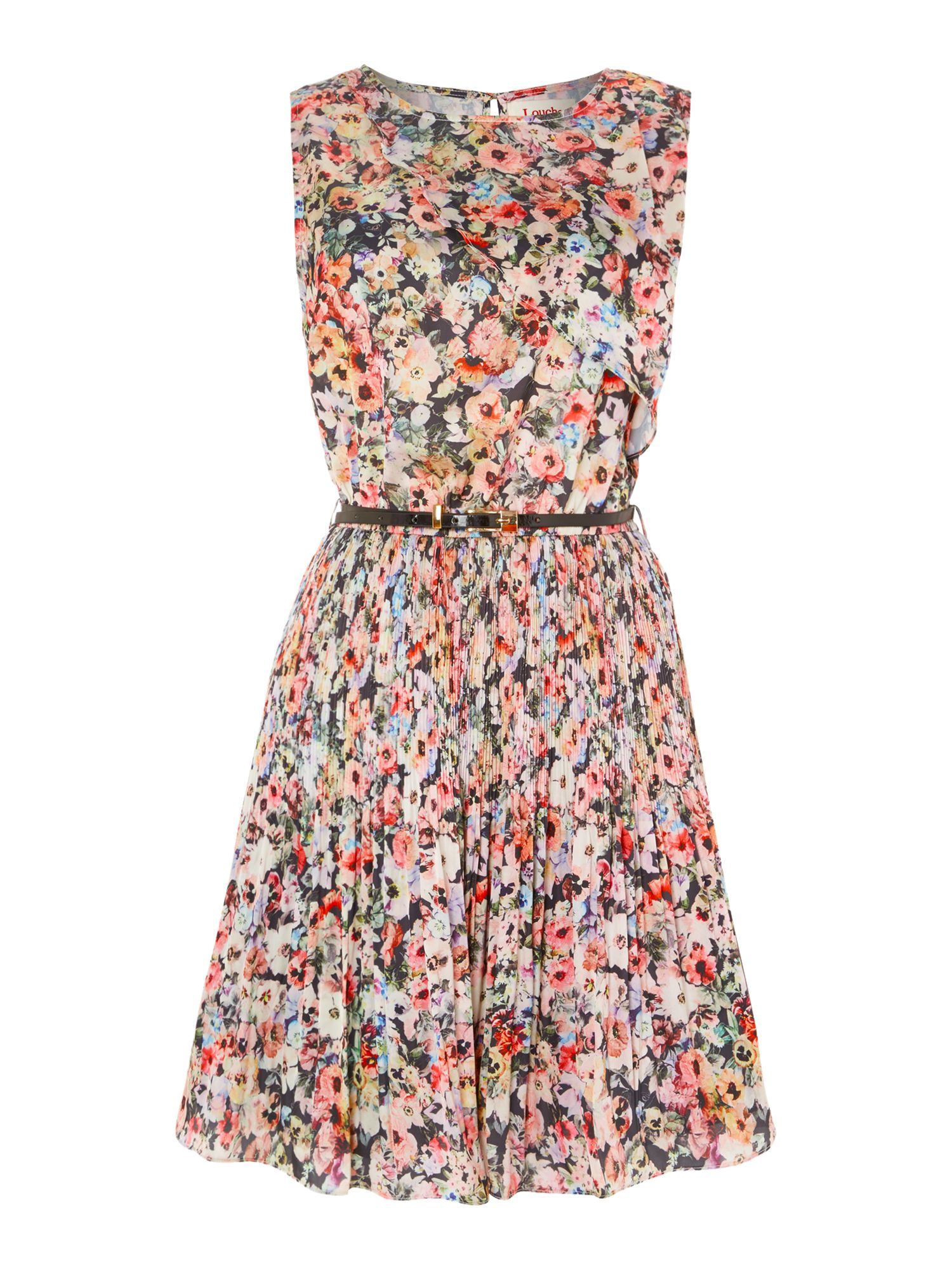 Floral print silk pleast dress