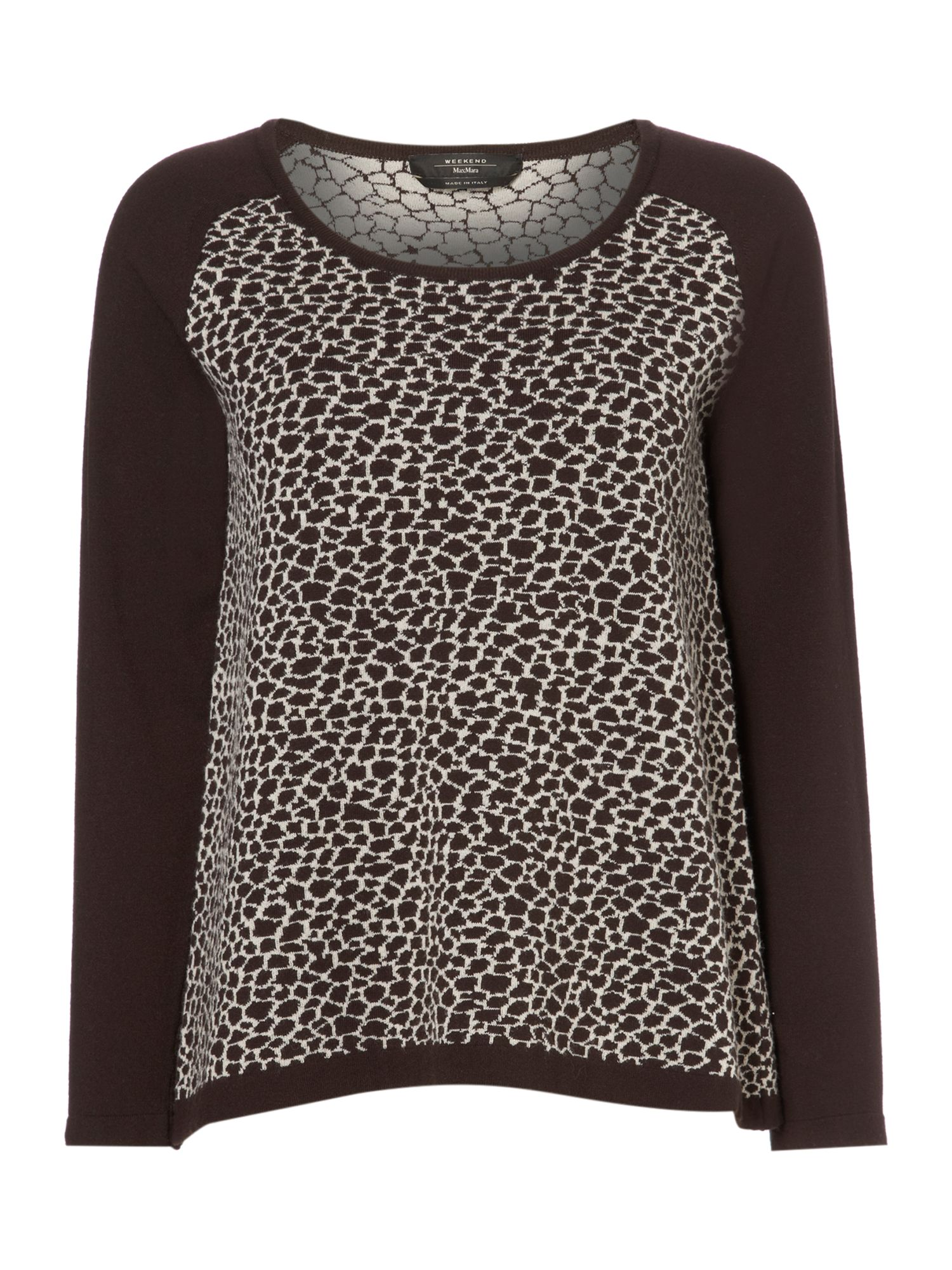 Ande animal print front long sleeved knitted top