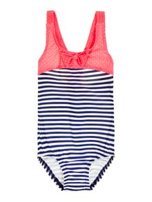 Girls striped bow swimsuit