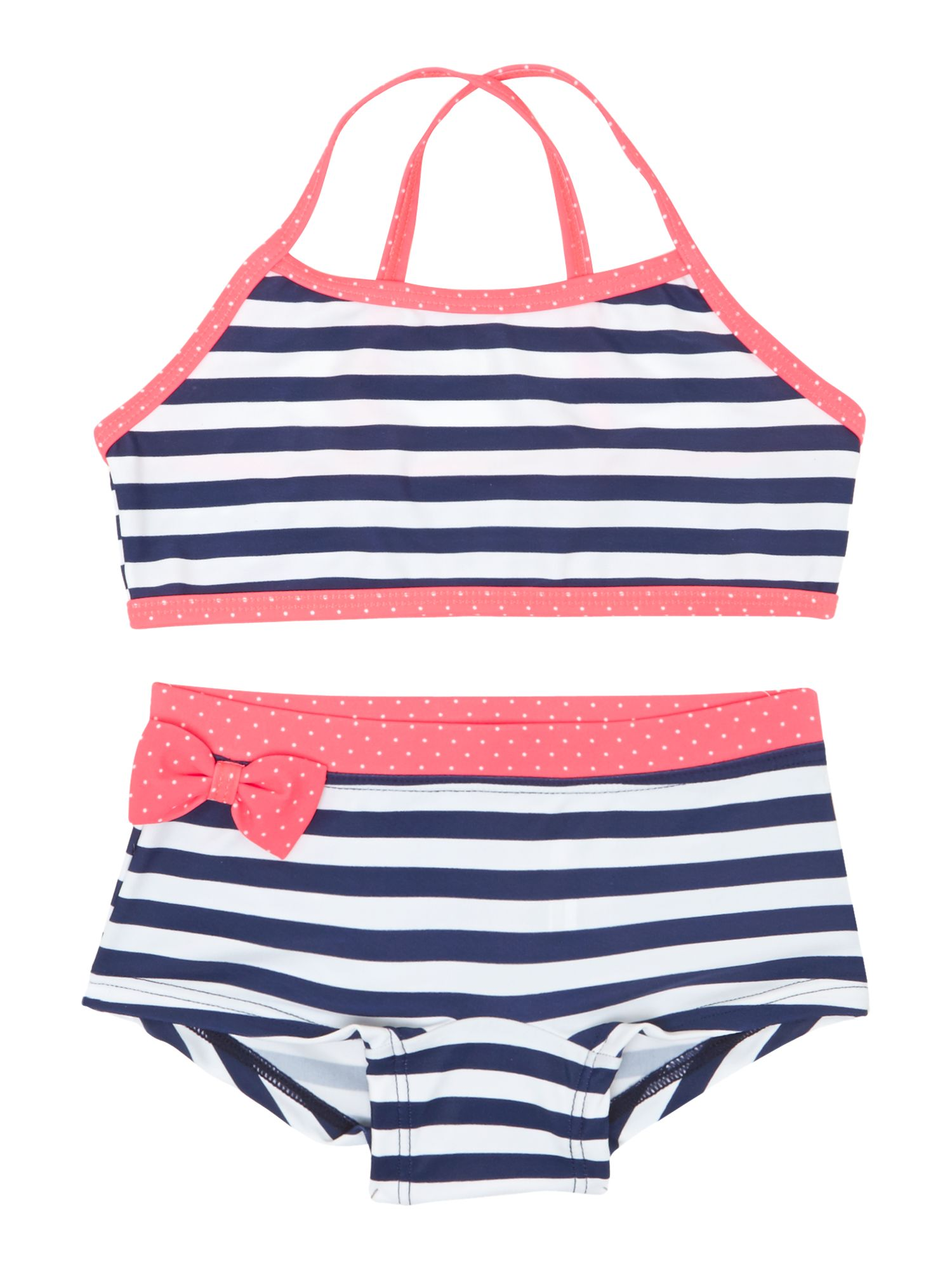 Girls stripe shortie bikini with bow