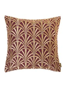 Fan embroidered cushion, purple