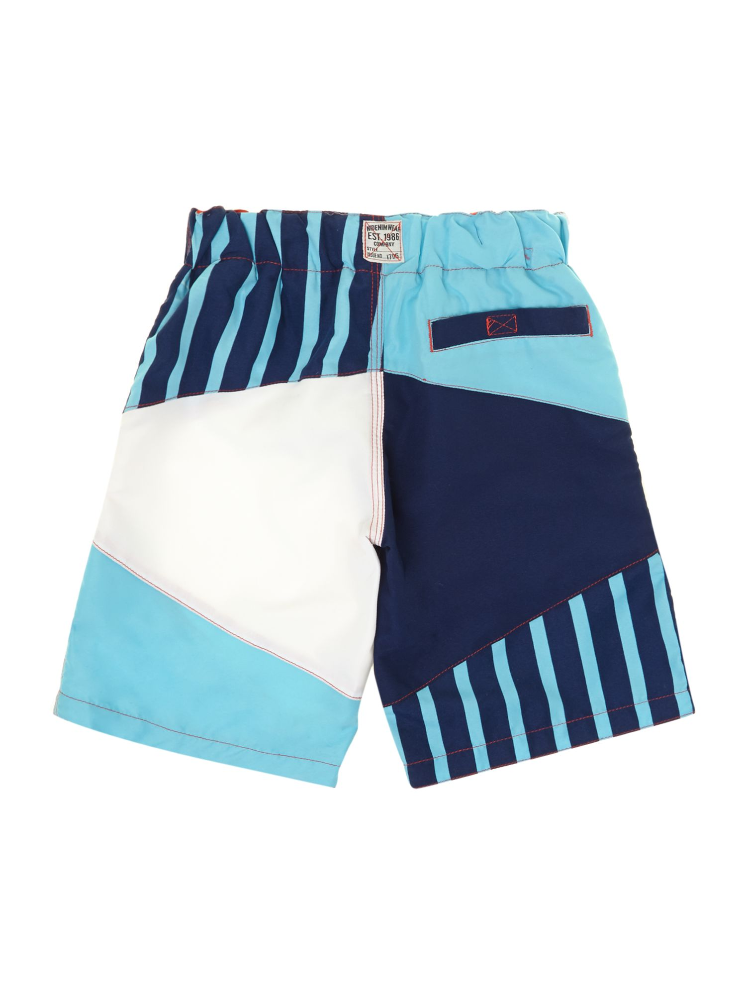 Boys long swim shorts in block print