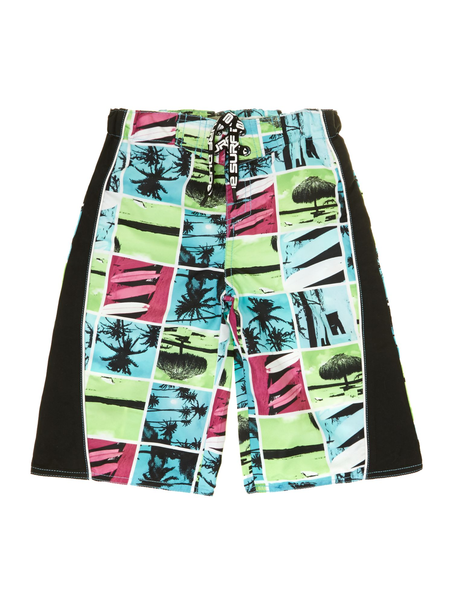 Boys long swim shorts in palm print
