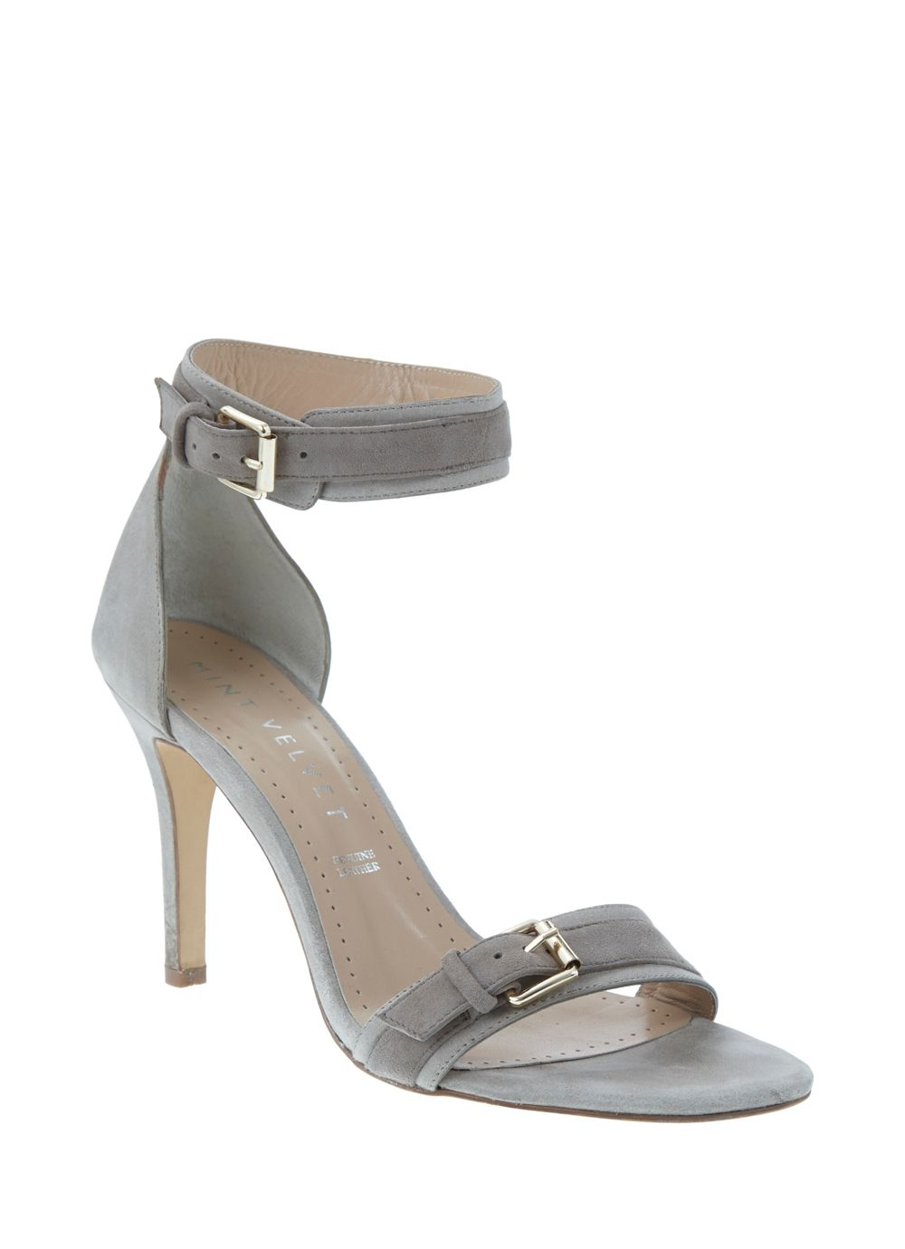 Grey lara double buckle sandal