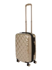 Biba Luxe diamond quilt gold 8 wheel hard cabin case