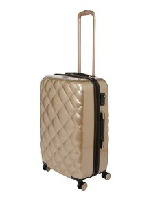 Diamond quilt taupe 8 wheel hard medium suitcase
