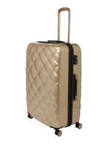 Diamond quilt grey 8 wheel hard large suitcase