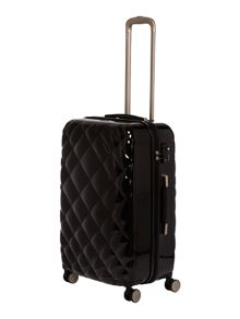 Diamond quilt black 8 wheel hard medium suitcase
