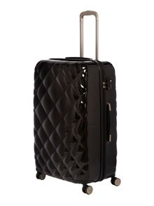 Diamond quilt black 8 wheel hard large suitcase