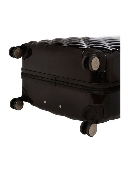 Biba Luxe diamond quilt black 8 wheel hard large case