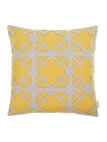 Felt applique maze cushion, chartreuse
