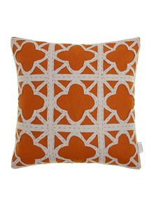 Felt applique maze cushion, rust