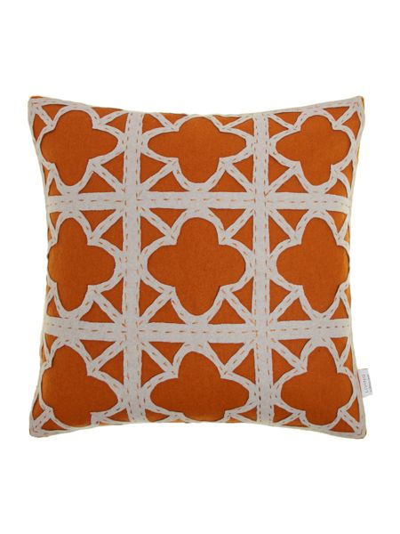 Living by Christiane Lemieux Felt applique rust maze cushion